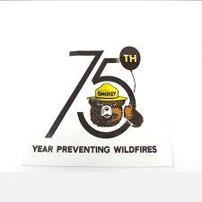 National Symbols Cache Smokey Bear 75th Birthday Vinyl Decal Discontinued