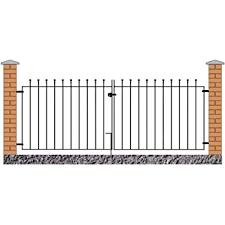 Manor Ball Top Driveway Gates 3353mm 11ft Gap X 915mm High Wrought Iron Dual Swing Metal Gate Mazp52 Amazon Co Uk Garden Outdoors