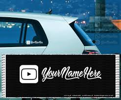 Custom Youtube Vinyl Decal Your Text Name Channel Wall Etsy