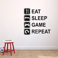 Eat Sleep Game Repeat Wall Decal Player Art Decor Vinyl Decal Wall Stickers Home Decor Teen Room Gaming Room Wall Decals B312 Wall Sticker Wall Decalsvinyl Decal Aliexpress