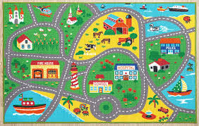 Amazon Com Furnish My Place City Street Map Children Learning Carpet Kids Rugs Boy Girl Nursery Bedroom Playroom Classrooms Play Mat Rectangle 3 3 L Furniture Decor