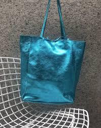 turquoise metallic leather tote bag