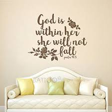 Amazon Com Battoo Psalm 46 5 Bible Verse God Is Within Her She Will Not Fall Wall Decal Quote 20 W 16 H Vinyl Decal Religious Wall Word Vinyl Lettering Black Furniture Decor