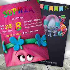 Trolls Poppy Birthday Party Trolls Girl Invite Printable Bobotemp