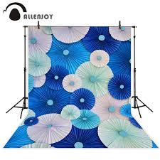 Allenjoy صور خلفية أزهار ورقية زرقاء ديكور النمط الآسيوي جميلة