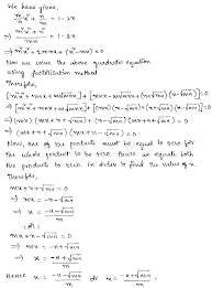 solution quadratic equation class 10