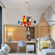 Colorful Wood Circles Hanging Pendant Light Nordic Wooden Shade 1 Light Pendant Lamp For Kids Room Beautifulhalo Com