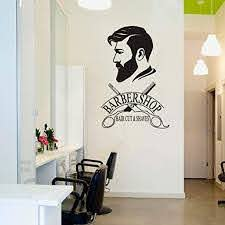 Amazon Com Barber Shop Removable Wall Decal Art Man Barbershop Wall Decor Stiker Window Decoration Sticker Poster Ay1121 42x64cm Black Kitchen Dining