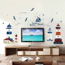 1x Lighthouse Wall Decal Seaside Scenery Wall Vinyl Seagull Wall Stickers Decal Ebay