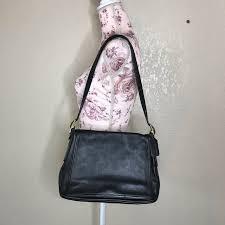 vintage black leather shoulder flap bag
