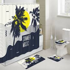 summer palm trees shower curtain toilet