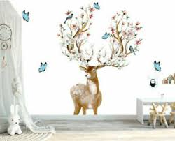 Deer Flower Blossom Bloom Birds Wall Art Sticker Baby Nursery Decor Kids Decal Ebay