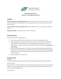 Dyslexia Working Group October 17, 2019 Meeting Summary Attendees Colorado  Department of Education Staff: Floyd Cobb, Alex Fraz