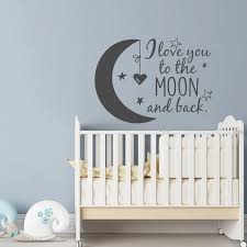 Nursery Vinyl Wall Decal I Love You To The Moon And Back Moon Stars Wall Sticker Home Decor For Kids Room Wall Decals G383 Wall Stickers Aliexpress