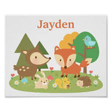 Cute Forest Woodland Animal Kids Room Decor Poster Zazzle Com