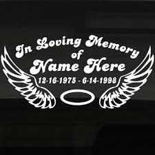 You Selected Angel Wings Halo In Loving Memory Decal Graphic Now Personalize Your Sticker