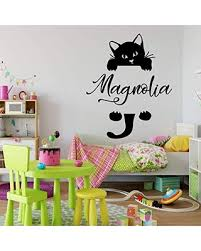 Amazing Deal On Personalized Cat Name Wall Decal Hanging Kitty Silhouette Vinyl Sticker For Kid S Bedroom Playroom Baby Nursery Or School Classroom