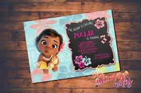 Baby Moana Customized Birthday Invitation By Theultimatewifey