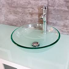 tempered clear glass vessel sink round