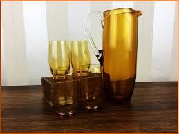 czechoslovakian amber glass water jug