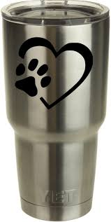 Amazon Com Classy Vinyl Creations Dog Paw In Heart Black Decal For Yeti Tumblers Ozark Trail Mugs Car Decal Window Sticker For Tumbler Cup Car Truck Wall Notebook Suv
