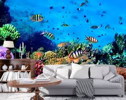 3d Ocean Wallpaper 3d Wall Sticker Wall Decor Peel And Stick Etsy