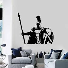 Amazon Com Wall Sticker Spartan Soldier Warrior Military Spear Shield Vinyl Wall Stickers Home Decor Living Room Diy Mural Art Decals Gift58x65 Cm Pvc Kitchen Dining