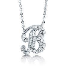 cz initial letter pendant necklace