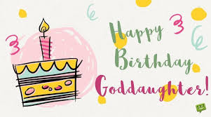 birthday message for goddaughter on happy hand drawn card