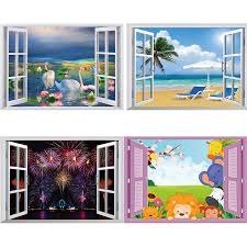 50 70 3d Fake Window Wall Decor Stickers Beach Swan Cartoon Wall Decals Home Decor Removable Posters Wall Stickers Aliexpress