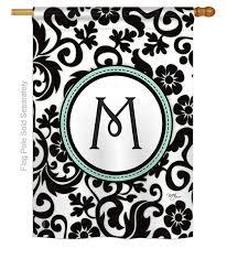 damask m monogram house flag more