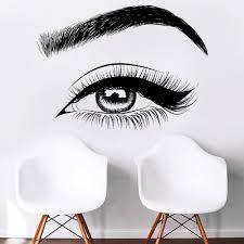 Amazon Com Eyelashes Decal Eyelashes Eye Wall Decal Eyelashes Eye Wall Sticker Girls Eyes Eyebrows Wall Decor Beauty Salon Decal Make Up Wall Decor Kau370 Handmade