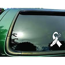 Amazon Com Ribbon Flying Birds White Lung Cancer Die Cut Vinyl Window Decal Sticker For Car Or Truck 5 5 X7 Everything Else