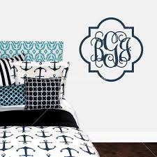 Quatrefoil Border Monogram Personalized Vinyl Wall Decal Wall Decor Decor 2 Ur Door