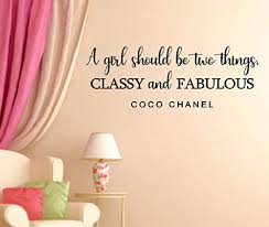 Amazon Com A Girl Should Be Two Things Classy And Fabulous Coco Chanel Quote Vinyl Wall Decal Handmade