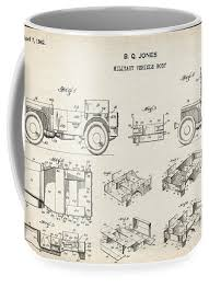 Patent Drawing for the 1942 Willys JEEP Military Vehicle Body by Byron Q.  Jones Coffee Mug for Sale by StockPhotosArt Com