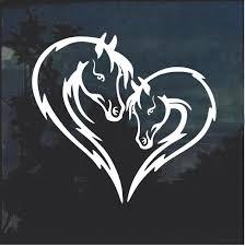 Horse Love Heart Head Window Decal Sticker Custom Sticker Shop