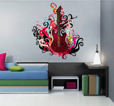 Cik532 Full Color Wall Decal Bass Guitar Music Rock Monogram Splashes Bedroom Music Wall Decal Wall Decals Music Wall Stickers