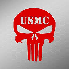 Amazon Com Usmc Punisher Decal Sticker Vinyl Cut Cars Trucks Vans Walls Laptop Red 5 In Tall Kcd290r Computers Accessories