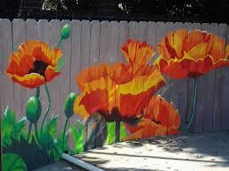 Poolside Poppy Mural Garden Mural Fence Art Garden Fence Art