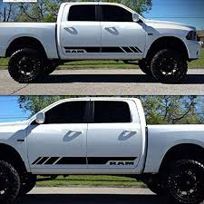 Amazon Com Senyazon Side Stripe Decal Sticker Kit For Dodge Ram Car Door Body Side Black Automotive