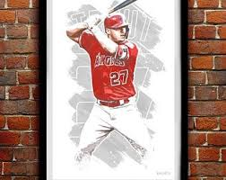 Los Angeles Angels Stud Mike Trout Poster Photo Painting Artwork Canvas Wall Art