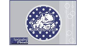 Amazon Com Tcu Horned Frogs Super Frog On Polka Dot Circle 1 6 Vinyl Decal Texas Christian Car Truck Sticker Kitchen Dining