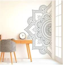 Mandala In Half Wall Sticker Wall Decal Decor For Home Studio Removable Vinyl Sticker For Meditation Yoga Wa Yoga Wall Art Mandala Wall Art Henna Wall Art