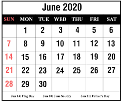 June 2020 Calendar Holidays - Printable ...