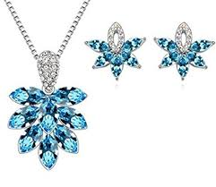 jewelry set white gold plated blue