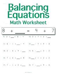 balancing math equations worksheet