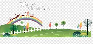 Cartoon Child Illustration Grass And Rainbow Background Text Fence Png Pngegg