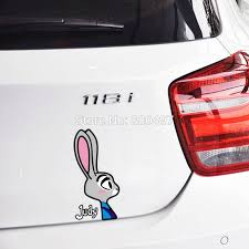 10 X Newest Funny Cartoon Zootopia Judy Rabbit Car Sticker Decal For Honda Chevrolet Toyota Volkswagen Tesla Bmw Fiat Lada Ford Car Stickers Decals For Hondadecals For Cars Aliexpress