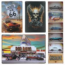Route 66 Bus Metal Wall Art Tin Sign Gift Vintage Plaque Garage Home Decor Retro Car Metal Poster Signs Man Cave Wall Stickers Plaques Signs Aliexpress
